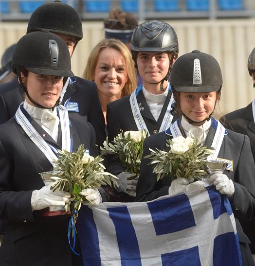 Greek gold medal winning children's team at Balkan Dressage Championships