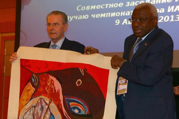 IAAF President Diack says farewell to IOC President