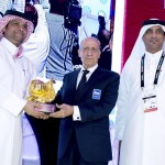 HE Sheikh Saoud Bin AbudlRahman Al Thani Secretary General Qatar Olympic Committee receives the FINA Prize from Julio C. Maglione FINA President; on the right, Mr Khaleel Ebrahim Al Jabir Director of Sport Affairs Department Qatar Olympic Committee t, Official Opening FINA 3rd World Aquatics ConventionDoha (Qatar) 28 -30 Nov. 2014Photo Giorgio Scala / Deepbluemedia