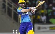 20 July 2016;  Ahmed Shehzad of Barbados Tridents hits 6 during Match 21 of the Hero Caribbean Premier League match between Jamaica Tallawahs and Barbados Tridents at Sabina Park in Kingston, Jamaica. Photo by Randy Brooks/Sportsfile