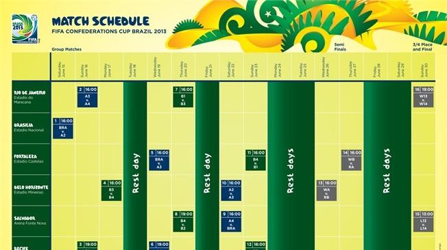 FIFA Confederations Cup match schedule presented